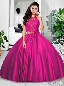 Fuchsia Taffeta Zipper Vestidos de Quinceanera Sleeveless Floor Length Lace and Ruching