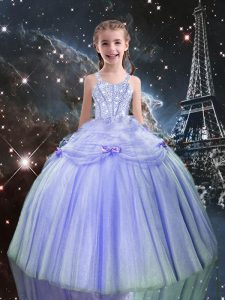 Graceful Sleeveless Beading Lace Up Little Girls Pageant Dress