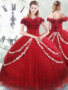 Smart Wine Red Tulle Lace Up Off The Shoulder Sleeveless Sweet 16 Dress Brush Train Appliques and Pick Ups