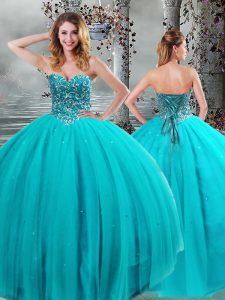 Customized Floor Length Aqua Blue Quinceanera Dress Tulle Sleeveless Beading