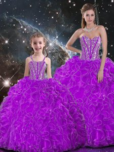 Sexy Beading and Ruffles 15 Quinceanera Dress Purple Lace Up Sleeveless Floor Length
