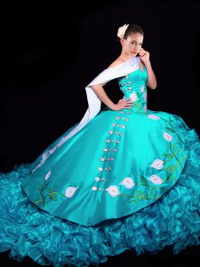 Lace Up Sweet 16 Quinceanera Dress Aqua Blue for Military Ball and Sweet 16 and Quinceanera with Embroidery and Ruffles Brush Train