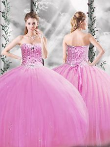 Eye-catching Lilac Ball Gowns Beading Sweet 16 Dresses Lace Up Tulle Sleeveless Floor Length