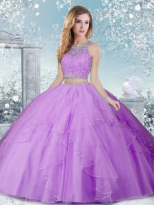 On Sale Tulle Scoop Sleeveless Clasp Handle Beading Ball Gown Prom Dress in Lavender