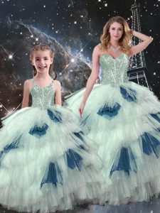 Noble Sleeveless Lace Up Floor Length Beading and Ruffled Layers Vestidos de Quinceanera