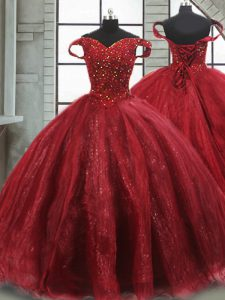 Simple Ball Gowns Sleeveless Wine Red Sweet 16 Quinceanera Dress Brush Train Lace Up