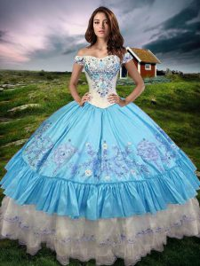 Eye-catching Taffeta Sleeveless Floor Length 15th Birthday Dress and Beading and Embroidery and Ruffled Layers