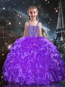 Floor Length Ball Gowns Sleeveless Eggplant Purple Kids Pageant Dress Lace Up