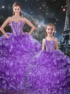 Organza Sweetheart Sleeveless Lace Up Beading and Ruffles Quinceanera Gown in Eggplant Purple