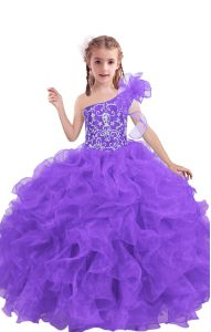 High End Floor Length Lace Up Little Girl Pageant Dress Lilac for Quinceanera and Wedding Party with Beading and Ruffles