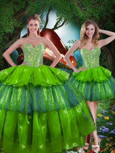 Superior Sweetheart Sleeveless Organza 15 Quinceanera Dress Beading and Ruffled Layers Lace Up