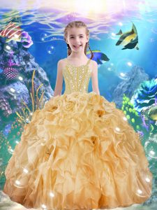 High End Champagne Sleeveless Beading and Ruffles Floor Length Little Girl Pageant Gowns