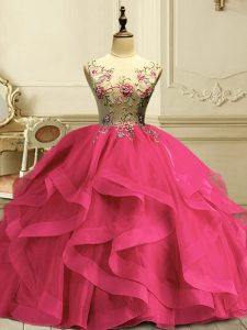 Trendy Sleeveless Appliques and Ruffles Lace Up 15th Birthday Dress