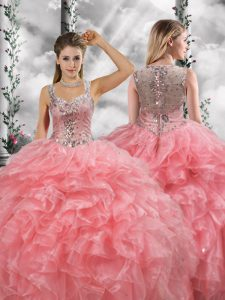 Super Watermelon Red Zipper Straps Beading and Ruffles Quince Ball Gowns Organza Sleeveless