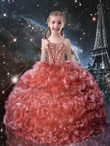 Watermelon Red Lace Up Little Girls Pageant Dress Beading and Ruffles Sleeveless Floor Length