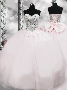Wonderful Pink Sleeveless Tulle Brush Train Lace Up Quinceanera Gowns for Military Ball and Sweet 16 and Quinceanera