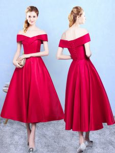 Comfortable Wine Red A-line Taffeta Off The Shoulder Sleeveless Appliques Tea Length Lace Up Dama Dress for Quinceanera