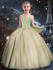 Inexpensive Yellow Green Straps Neckline Beading Little Girls Pageant Dress Sleeveless Lace Up