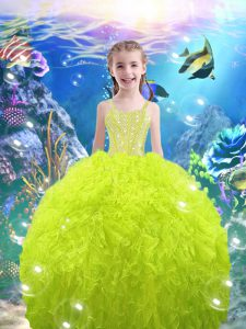 Nice Lace Up Straps Beading and Ruffles Kids Formal Wear Organza Sleeveless