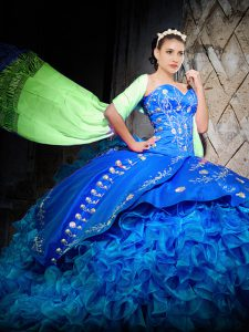 Flare Off The Shoulder Sleeveless Quince Ball Gowns Brush Train Embroidery and Ruffles Royal Blue Organza