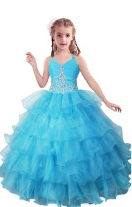 Simple Baby Blue Sleeveless Organza Zipper Little Girl Pageant Gowns for Quinceanera and Wedding Party