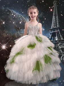 Superior Ball Gowns Kids Pageant Dress White Straps Tulle Sleeveless Floor Length Lace Up