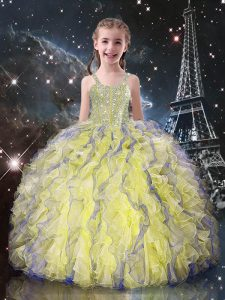 High Class Organza Straps Sleeveless Lace Up Beading and Ruffles Child Pageant Dress in Light Yellow