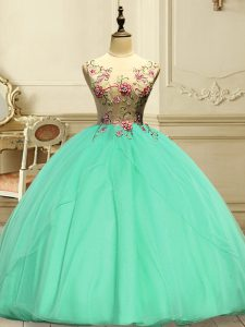 Clearance Apple Green Ball Gowns Scoop Sleeveless Organza Floor Length Lace Up Appliques Ball Gown Prom Dress