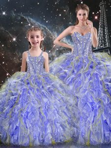 Most Popular Lavender 15th Birthday Dress Military Ball and Sweet 16 and Quinceanera with Beading and Ruffles Sweetheart Sleeveless Lace Up