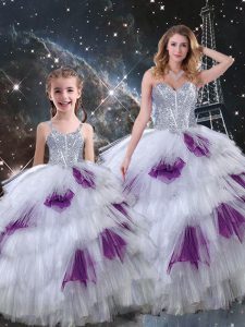 Unique Multi-color Sleeveless Beading and Ruffled Layers Floor Length Sweet 16 Quinceanera Dress