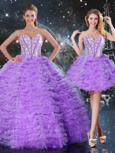 Lavender Sleeveless Beading and Ruffled Layers Floor Length Quinceanera Dresses