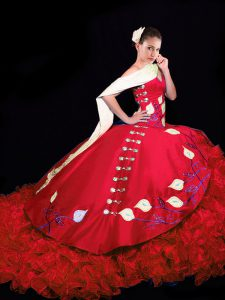 Red Ball Gowns Embroidery and Ruffles Quinceanera Dresses Lace Up Taffeta Sleeveless