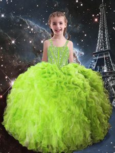 Latest Ball Gowns Child Pageant Dress Straps Organza Sleeveless Floor Length Lace Up