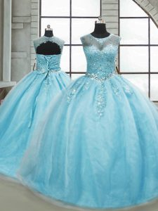 Aqua Blue Sleeveless Brush Train Beading 15th Birthday Dress