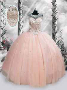 Pink Sleeveless Tulle Lace Up Sweet 16 Dress for Military Ball and Sweet 16 and Quinceanera