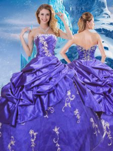 Artistic Purple Sleeveless Floor Length Appliques and Pick Ups Zipper Ball Gown Prom Dress
