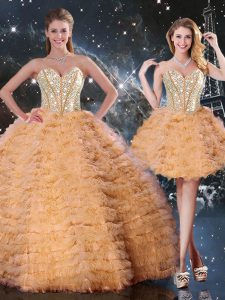 Orange Sleeveless Floor Length Beading and Ruffled Layers Lace Up Sweet 16 Quinceanera Dress