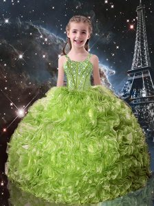 Beautiful Olive Green Straps Lace Up Beading and Ruffles Little Girls Pageant Gowns Sleeveless