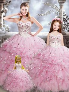 Nice Baby Pink Sleeveless Beading and Ruffles Floor Length 15 Quinceanera Dress