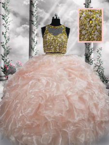 Peach Zipper Quince Ball Gowns Beading and Ruffles Sleeveless Floor Length