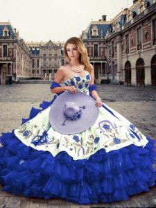Affordable Floor Length Royal Blue Sweet 16 Dresses Sweetheart Sleeveless Lace Up