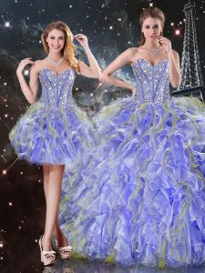 Luxurious Lavender Organza Lace Up Sweet 16 Dresses Sleeveless Floor Length Beading and Ruffles