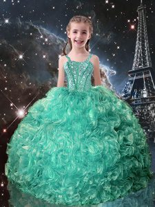 Turquoise Sleeveless Organza Lace Up Pageant Gowns For Girls for Quinceanera and Wedding Party