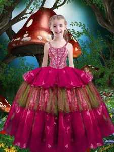 Gorgeous Hot Pink Ball Gowns Organza Straps Sleeveless Beading and Ruffled Layers Floor Length Lace Up Little Girls Pageant Gowns