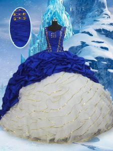 Blue And White Sweet 16 Dresses Taffeta Brush Train Sleeveless Ruffled Layers and Pick Ups