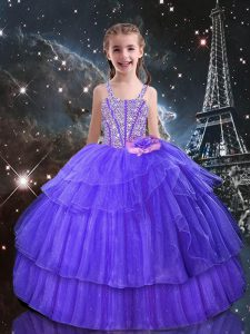 Eggplant Purple Sleeveless Floor Length Beading and Ruffled Layers Lace Up Little Girl Pageant Gowns