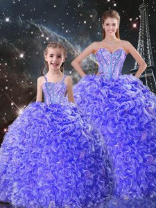 Floor Length Lace Up Quinceanera Gowns Purple for Military Ball and Sweet 16 and Quinceanera with Beading and Ruffles