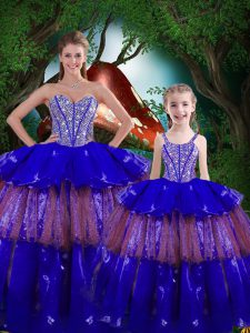 Fine Royal Blue Quince Ball Gowns Military Ball and Sweet 16 and Quinceanera with Beading and Ruffled Layers Sweetheart Sleeveless Lace Up