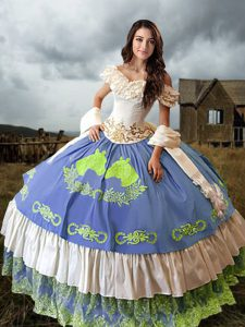 Attractive Off The Shoulder Sleeveless Quinceanera Gowns Brush Train Embroidery and Ruffled Layers Multi-color Taffeta