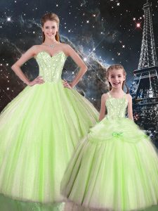 Eye-catching Yellow Green Sweetheart Neckline Beading Quinceanera Dress Sleeveless Lace Up